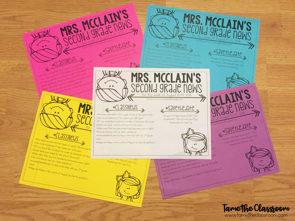 Teachers, you can send newsletters home each week to keep parents informed about important things happening in your classroom. Here are a few suggestions for what to include in your newsletters.   Tame the Classroom