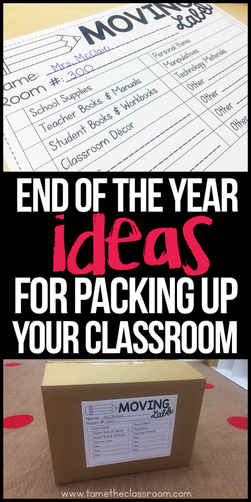 Preparing for the end of the year typically involves packing up your classroom. Not so fun, am I right? Here are a few ideas and tips to make it easier. #endoftheyear #classroomideas #classroomtips